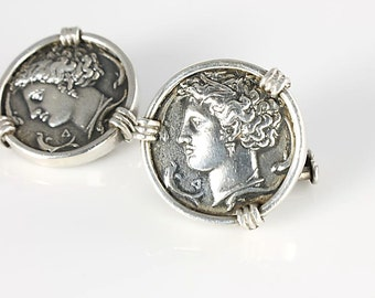 Sterling Greek Coin Cufflinks, Alexander the Great Cuff Links, Ancient Byzantine Coin collectors Fine Mens jewelry