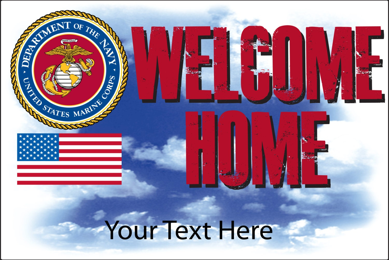 welcome home custom usmc marine corps military member banner