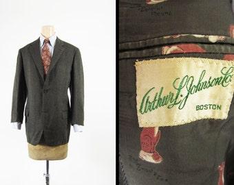 Vintage 50s Tweed Sport Coat Ivy League Jacket Brown Wool 3 Roll 2 - Size 39 R