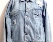 "Vintage 1980's Mens Jean Jacket ""Todays News"" Size Large-Unique-Torn Frayed Look"