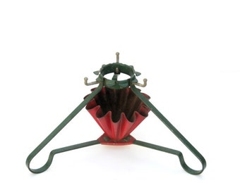 Vintage 1950s Christmas Tree Stand Tripod Metal Fluted Small Tree Stand