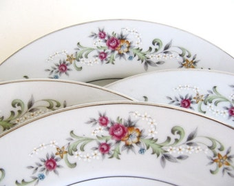 Vintage Crescent China Limoge Roses by Ranmaru Dinner Plates Set of 12