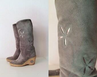 Vintage Boots - Grey Suede Boots 1970's - Size 6, EUR 36, UK 3