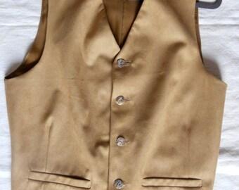 Beige suede material clasic men's vest, size M mens vest, ready to ship