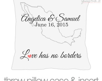 Destination wedding pillow - wedding gift pillow - personalized with couples names, dates & country