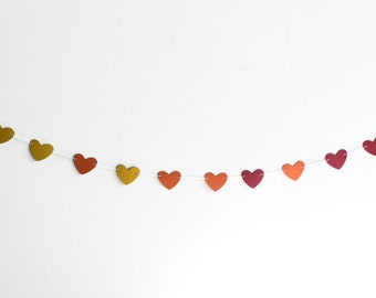 Heart Banner, Paper Bunting, Red Yellow Orange, Valentines Decor, Girls Room Decoration, Birthday Party Streamer, Sunset Hearts
