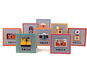 Retro Vintage Camera Collection - 8 set Handmade Funny Cards. Cute Smile cards