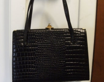 True Vintage 50s CROUCH & FITZGERALD Black Leather Purse/Handbag