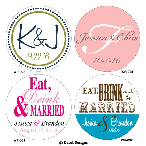 180 - 1 inch Custom Glossy Waterproof Wedding Stickers Labels - hundreds of designs to choose - change designs to any color or wording