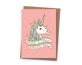 SALE Magical Unicorn Birthday Card