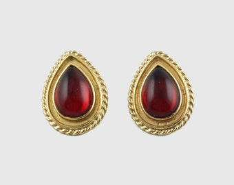 Vintage Signed Ben-Amun Earrings with Ruby Red Teardrop Cabochons
