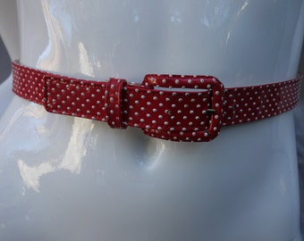 YSL Yves Saint Laurent Early Red/White Patent Polkadot Belt Small