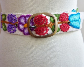 "Handmade Embroidered women's belt size 36"" to 42"" in white, organic"
