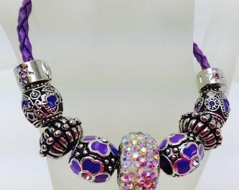 European Beads Bracelet, Charm Bracelet, Leather Bracelet, Purple Faux Leather, Rhinestone Beads, Enamel Beads, Euro Charm Bracelet,