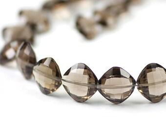 Smoky Quartz Checker Faceted Puffed Square Beads 2 Chocolate Brown Semi Precious Gemstones