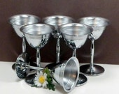 Sale Chrome Cordial Sorbet Cups Stems Stainless 4 Ounce Vintage 1940s Art Deco Barware Bar Accessory