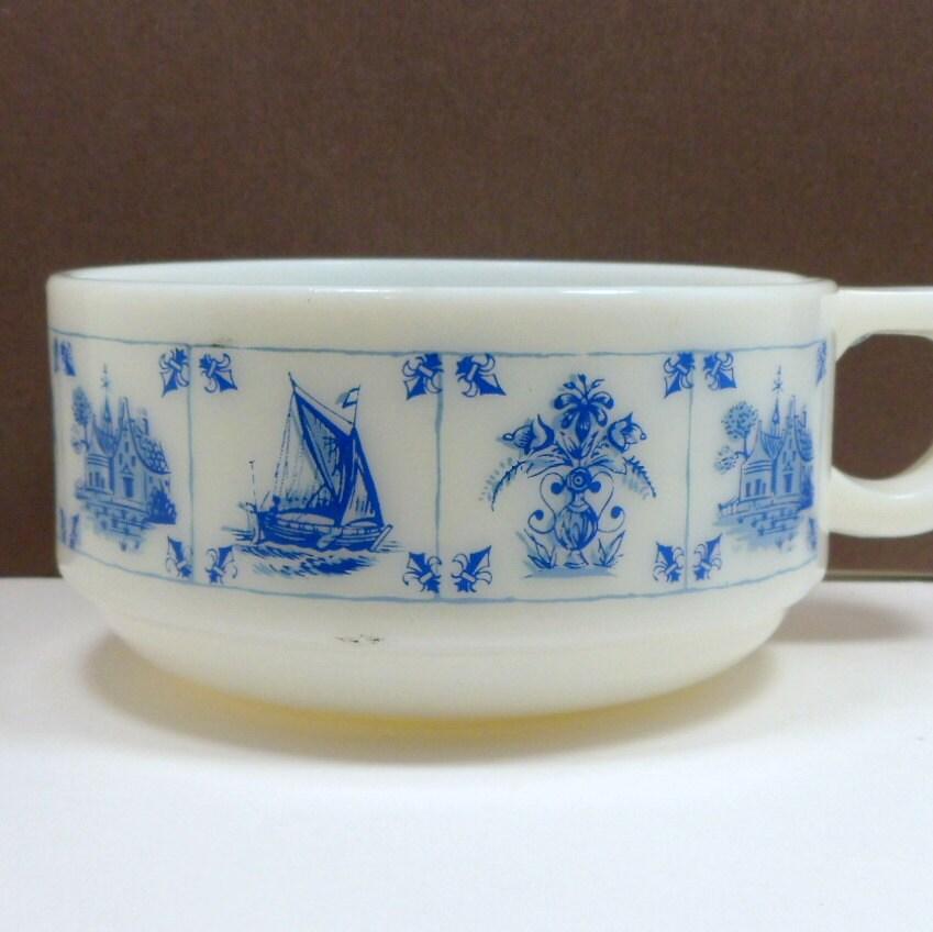 on sale vintage soup mug blue white milk glass ships castle flowers soup bowl  u2013 haute juice