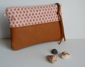 Leather and Linen Zipper Clutch Stash Pouch, Vintage, Locally Screenprinted Linen and Leather, Slim Style- THE GEORGIA