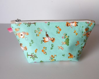 Zipper Pouch- Modern Make Up Bag/Accessories Organizer with Designer Cottons- Clean and Modern- THE MAYA
