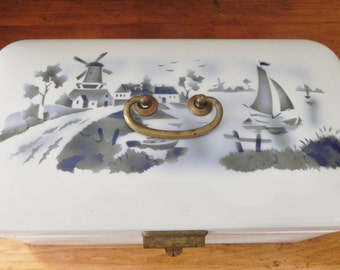 Vintage German Enamelware Bread Box - Blue and White Dutch Windmill Scene
