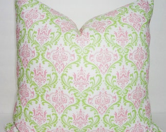 Pink & Green Damask Print Pillow Cover Girls Room Decorative Pillow Baby Nursery All Sizes