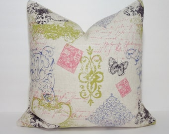 Decorative Pillow Cover Butterfly Postcard Print Natural Pink Green Pillow Cover Throw Pillow Choose size