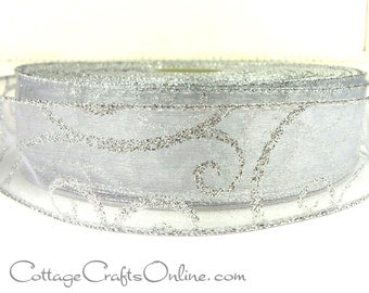 "Christmas Wired Ribbon, 1 1/2"",  White Sheer with Silver Glitter Filigree Swirl Scroll - FIFTY YARD Roll -  Wire Edged Ribbon"