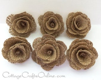CLEARANCE! Burlap Flower Natural, 18 Pieces, Jute Dark Fabric Flower, Wedding,  Wreath, Rustic Prim Craft Embellishment, David Tutera