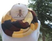 The Bee's Knees!!! Double Loop Soft & Slinky Knotty Knitted Honey Bee Inspired Infinity Scarves