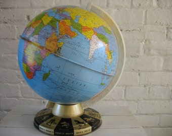Sale Vintage Ohio Art Tin Zodiac Globe - Mid Century - Decor - Learning