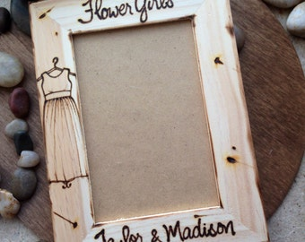 Flower Girls Frame for Two Sisters Personalized Wood Frame with Their Dress and your Wedding Date or Her Name