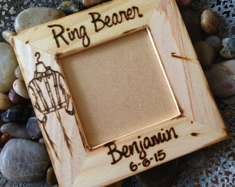 Gift for Ring Bearer - Personalized Wedding Wood Frame with Name, Wedding date and Outfit