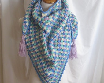 Crochet Triange Scarf Shawl - Blue, Purple and Green - With Tassels