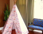 Ready to ship Five sided 1985 indian summer Mauve pastel chevron print teepee tent with dark stained solid wood polls