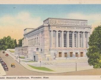 Worcester, Massachusetts, Worcester Memorial Auditorium - Linen Postcard - Unused (U)