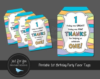 Printable Pastel Rainbow Thank You Tags - 1st First Birthday - Goody Treat Loot Bag Bomboniere - Pink or Blue - YOU PRINT - Instant Download