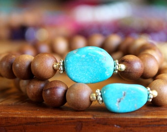 TURQUOISE and Sandalwood gemstone mala bracelet