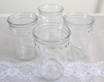 Small glass jars 4 juice jars with stars farmhouse country jars wedding candle jars wedding luminaries shabby jar set patriotic candle jars