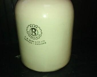 Large Apothecary Jug , Scientific , English Doulton & Co Limited , Lambeth , Berk Chemical Bottle , antique jug