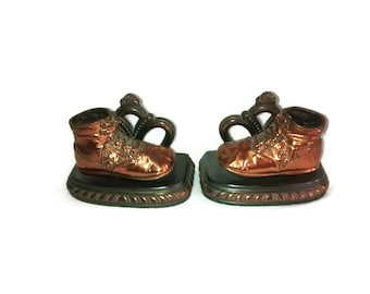 Copper Bronzed Baby Shoes , Bookends , Vintage Mid Century