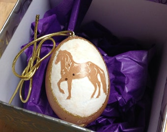 Carved Horse on Brown Chicken Egg