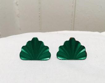 Vintage 1980s Emerald Green Earrings