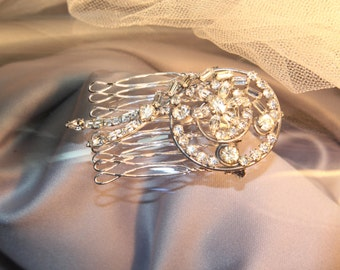 Vintage 1940's Floral Bridal Crystal Sterling Silver Wedding Brooch/Haircomb, Bridal Rhinestone Brooch, Designer Jewelry