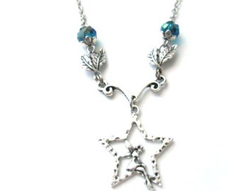 Fairy on pentagram necklace jewelry with leaves and teal crystal beads vintage style antiqued silver star charm pagan goth medieval