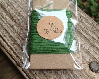 10 Yards - Solid  Baker's  Twine / String • 100% Cotton • Eco Friendly • Gift Wrap • Bakery String •  Pine
