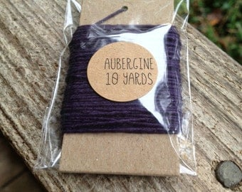 10 Yards - Solid  Baker's  Twine / String • 100% Cotton • Eco Friendly • Gift Wrap • Bakery String • Aubergine