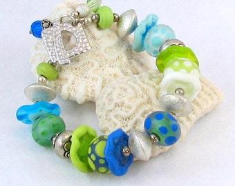 Artisan Lampwork and Silver Bracelet
