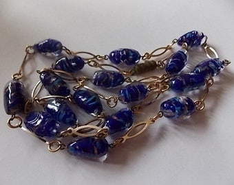 Vintage Murano Glass Necklace Blue Gold  LOVELY