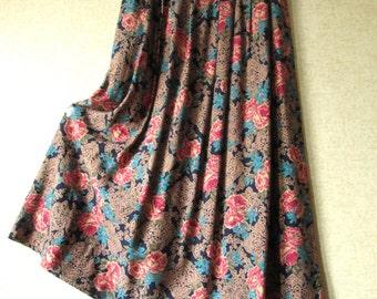 Floral Skirt High Waisted long midi boho skirt gypsy clothing festival skirt roses flowers turquoise elastic waist womens small vintage 80s