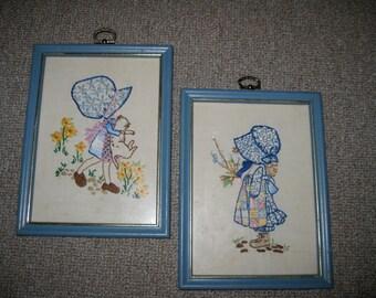 Holly Hobbie  Embroidered Blue Frames (2)